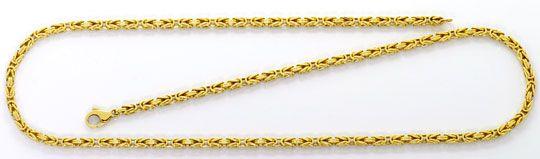 Foto 1, Goldhalskette Königskette massiv Gelbgold 14K Karabiner, K2574