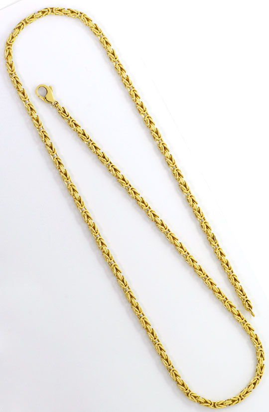 Foto 3, Goldhalskette Königskette massiv Gelbgold 14K Karabiner, K2574