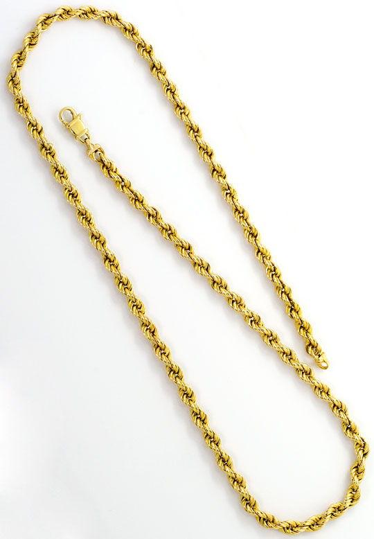 Foto 3, Kordel Goldkette, Gelbgold Halskette 14 Karat Karabiner, K2576
