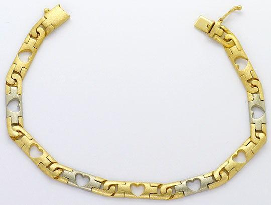 Foto 1, Designer Herzen Schmuck Set, Kette Armband Bicolor Gold, K2578