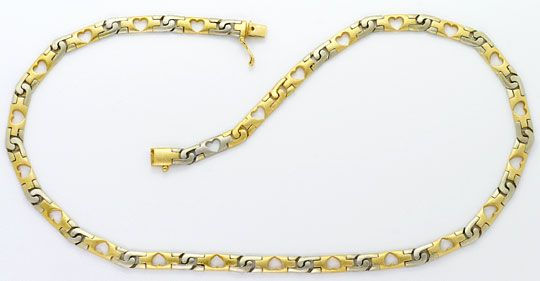 Foto 2, Designer Herzen Schmuck Set, Kette Armband Bicolor Gold, K2578