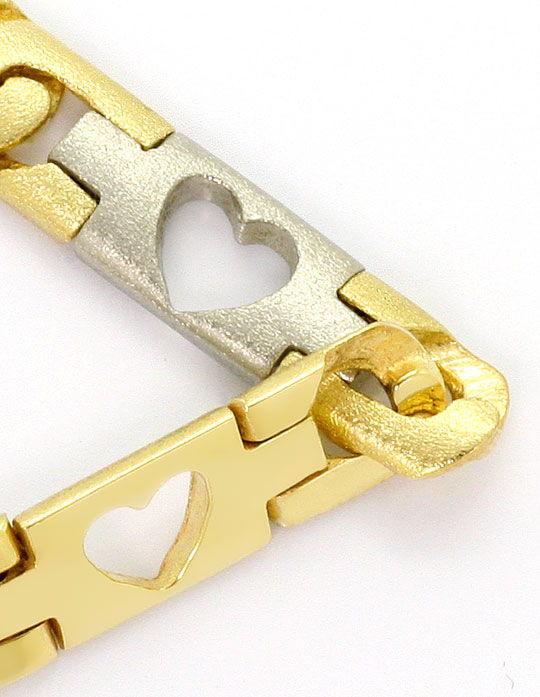 Foto 3, Designer Herzen Schmuck Set, Kette Armband Bicolor Gold, K2578