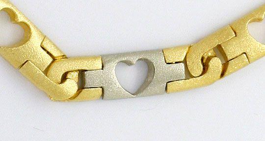 Foto 4, Designer Herzen Schmuck Set, Kette Armband Bicolor Gold, K2578