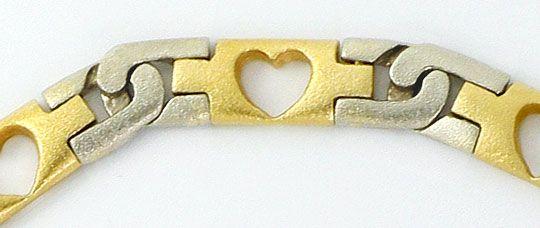 Foto 5, Designer Herzen Schmuck Set, Kette Armband Bicolor Gold, K2578