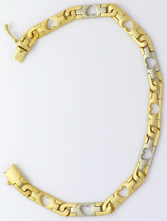 Foto 6, Designer Herzen Schmuck Set, Kette Armband Bicolor Gold, K2578