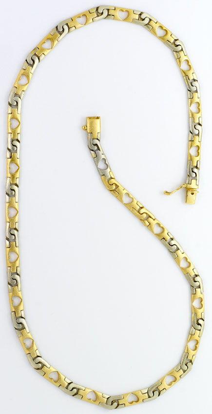 Foto 8, Designer Herzen Schmuck Set, Kette Armband Bicolor Gold, K2578