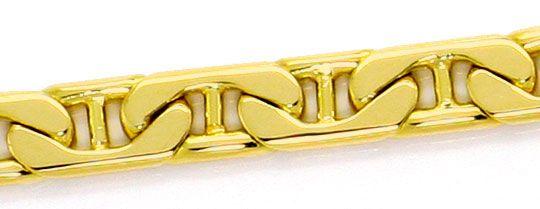 Foto 2, Massives Steg Flachpanzer Goldarmband, Gelbgold 14K/585, K2587