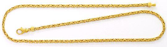 Foto 1, Königskette Goldhalskette massiv Gelbgold 18K Karabiner, K2589