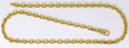 Foto 1, Goldkette im Anker Muster Karabiner massiv Gelbgold 14K, K2591
