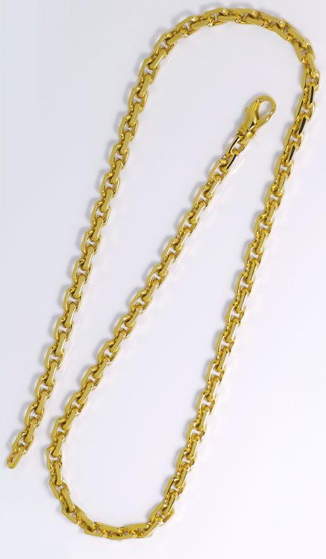 Foto 4, Goldkette im Anker Muster Karabiner massiv Gelbgold 14K, K2591