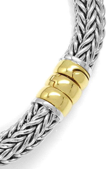 Foto 2, Armband vierfach Zopf Muster Weissgold Gelbgold 14K/585, K2593