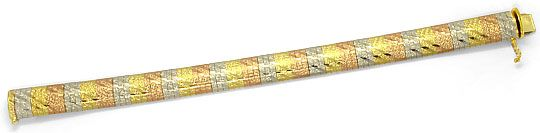 Foto 1, Staebchen Armband massiv Gelbgold Rotgold Weissgold 18K, K2596