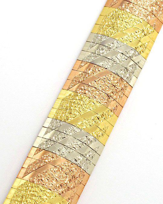 Foto 2, Staebchen Armband massiv Gelbgold Rotgold Weissgold 18K, K2596