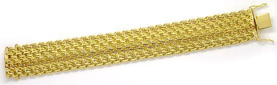 Foto 1, Massives schweres Armband vierreihig Garibaldi Gelbgold, K2597