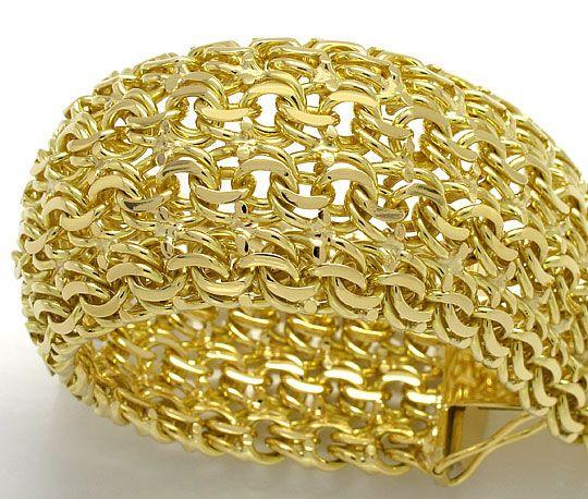 Foto 2, Massives schweres Armband vierreihig Garibaldi Gelbgold, K2597