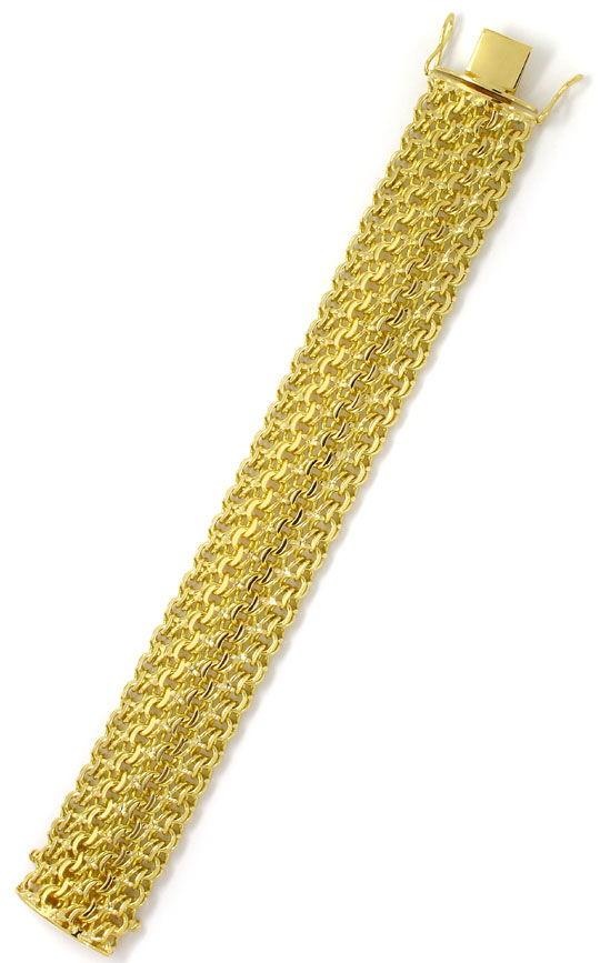 Foto 3, Massives schweres Armband vierreihig Garibaldi Gelbgold, K2597