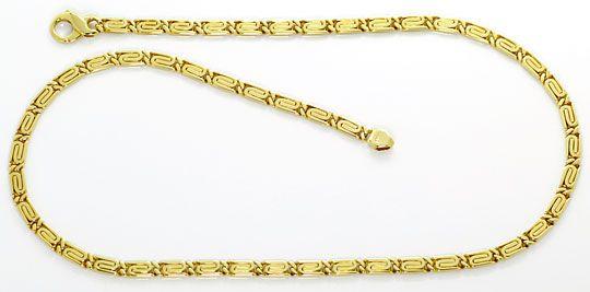 Foto 1, S Flachpanzer Goldkette Designer Karabiner Gelbgold 14K, K2600