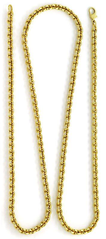 Foto 3, Rundanker Goldkette lang mit Karabiner Gelbgold 18K/750, K2601