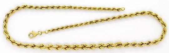 Foto 1, Gold Kollier Kordelkette Verlauf Karabiner Gelbgold 14K, K2602