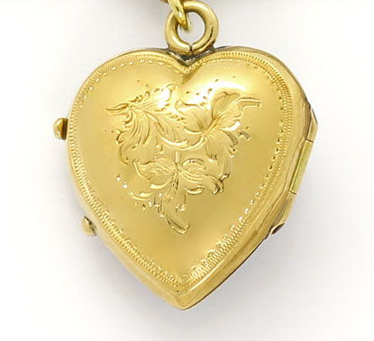 Foto 4, Original antike Uhrkette Windhundkopf Herzmedaillon 14K, K2613