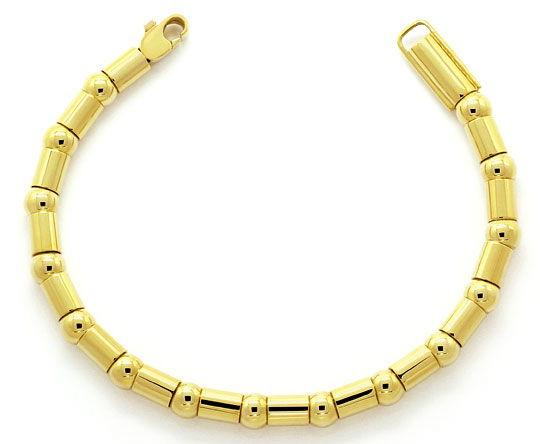 Foto 1, Gelbgold Armband Fantasiemuster aus Kugeln und Tönnchen, K2614