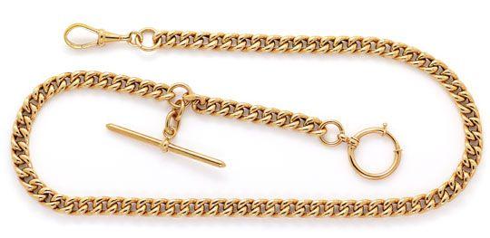 Foto 1, Alte Rotgold Uhrkette oder Halskette mit Knebel 14K/585, K2615