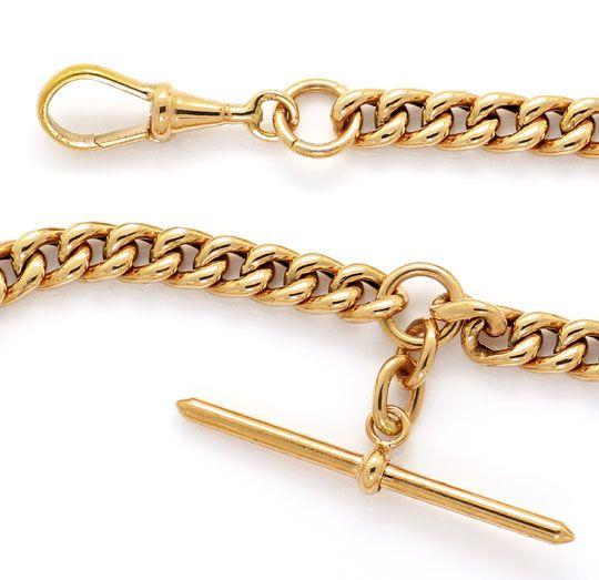 Foto 2, Alte Rotgold Uhrkette oder Halskette mit Knebel 14K/585, K2615