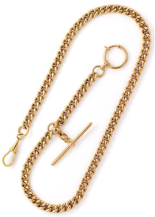 Foto 4, Alte Rotgold Uhrkette oder Halskette mit Knebel 14K/585, K2615