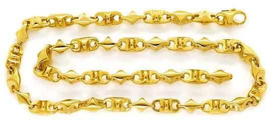 Foto 1, 300 Gramm massive Designer Gelb Gold Halskette 67cm 14K, K2617