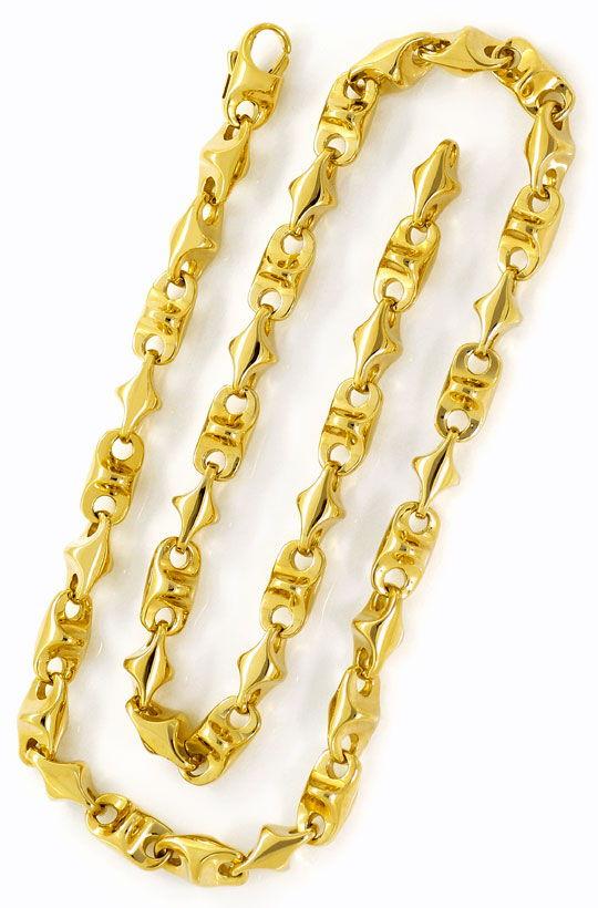Foto 3, 300 Gramm massive Designer Gelb Gold Halskette 67cm 14K, K2617
