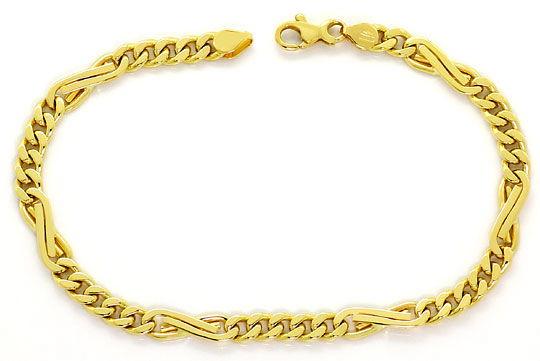 Foto 1, Dollar Flachpanzer Gold Armband massiv Gelbgold 18K/750, K2621