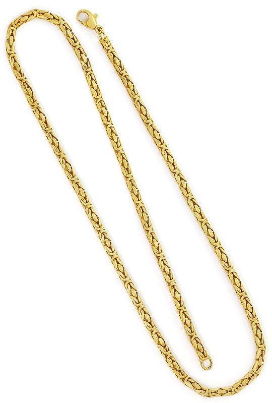 Foto 3, Koenigskette, 52cm Goldkette Karabiner Gelbgold 14K/585, K2623