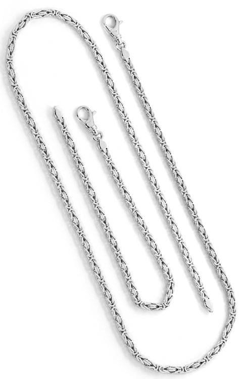 Foto 3, Königsketten Armband und Königs Halskette Weissgold 14K, K2627