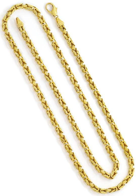 Foto 3, Goldhalskette massive Königskette 74cm Gelbgold 14K/585, K2628