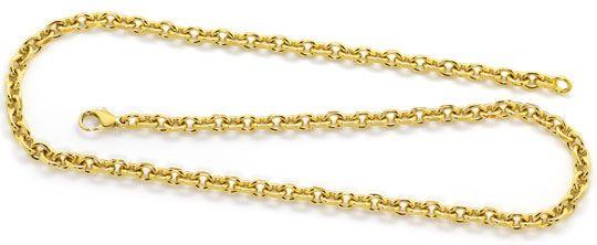 Foto 1, Anker Gold Halskette 50cm Karabiner massiv Gelbgold 18K, K2629