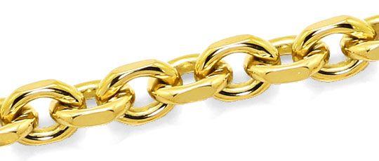 Foto 2, Anker Gold Halskette 50cm Karabiner massiv Gelbgold 18K, K2629
