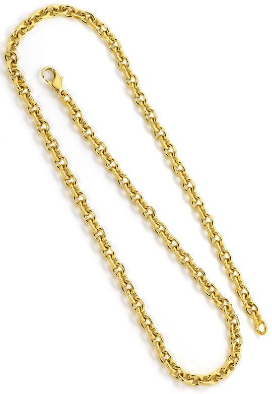 Foto 3, Anker Gold Halskette 50cm Karabiner massiv Gelbgold 18K, K2629