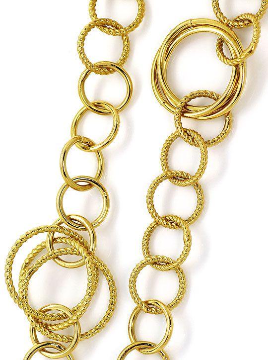 Foto 2, Designer Goldkette glatte und Gekordelte Goldreifen 18K, K2633