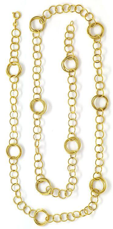 Foto 3, Designer Goldkette glatte und Gekordelte Goldreifen 18K, K2633