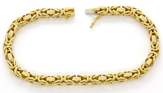 Foto 1, Massives Königsketten Armband Kastenverschluss 18K Gold, K2634