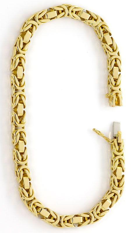 Foto 3, Massives Königsketten Armband Kastenverschluss 18K Gold, K2634