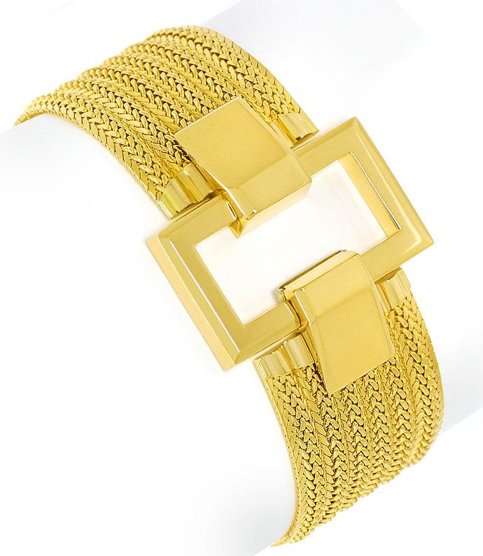 Foto 2, Breites, schweres, Designer Gelbgold Armband massiv 18K, K2638