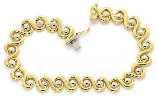 Foto 1, Designer Armband geschwungen Gelbgold Weissgold 14K/585, K2640