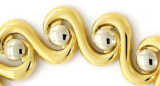Foto 2, Designer Armband geschwungen Gelbgold Weissgold 14K/585, K2640