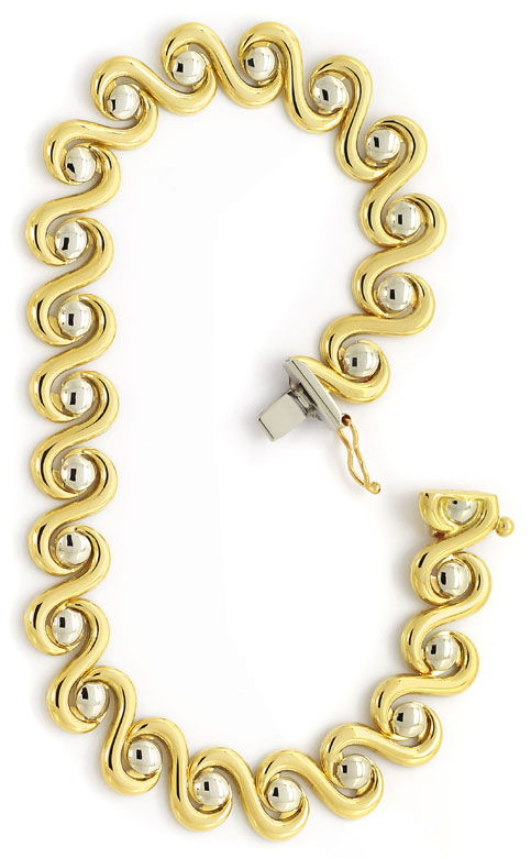 Foto 3, Designer Armband geschwungen Gelbgold Weissgold 14K/585, K2640