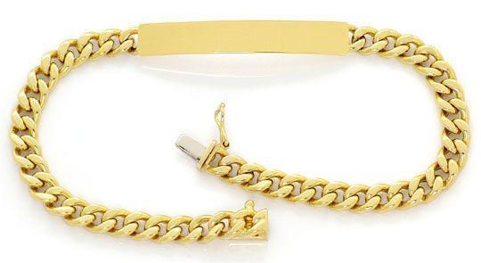 Foto 1, Gold Armband Identitätsarmband mit Platte, Gelbgold 14K, K2641