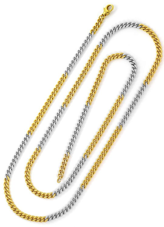 Foto 3, Flachpanzergoldkette 80cm massiv Gelbgold Weissgold 585, K2644