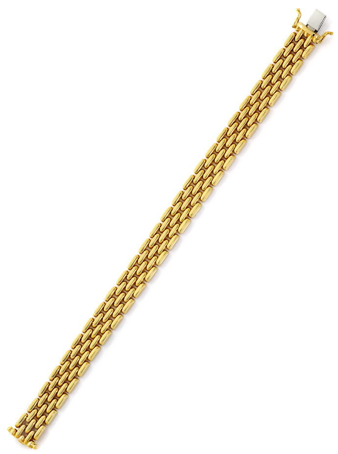 Foto 3, Gold Backstein Armband in 14K Gelbgold Kastenverschluss, K2655