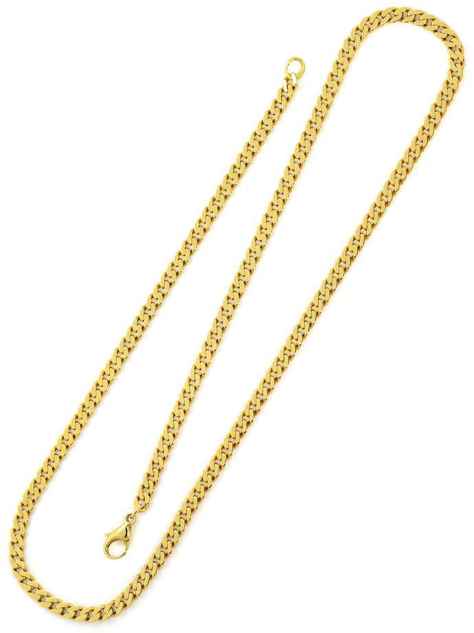 Foto 3, Flachpanzer Kette Goldkette 53cm in massiv Gelbgold 14K, K2657