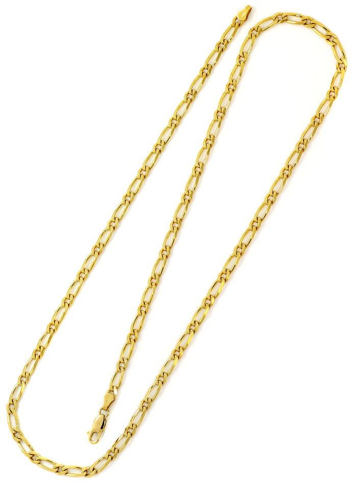 Foto 3, Figaro Halskette mit Karabiner, massiv 18K/750 Gelbgold, K2658